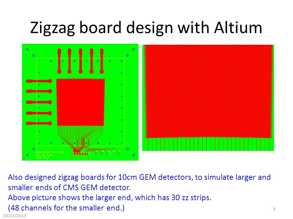 Zigzag board design with Altium Also designed zigzag boards for 10cm GEM detectors, to simulate larger and smaller ends of CMS GEM detector.
