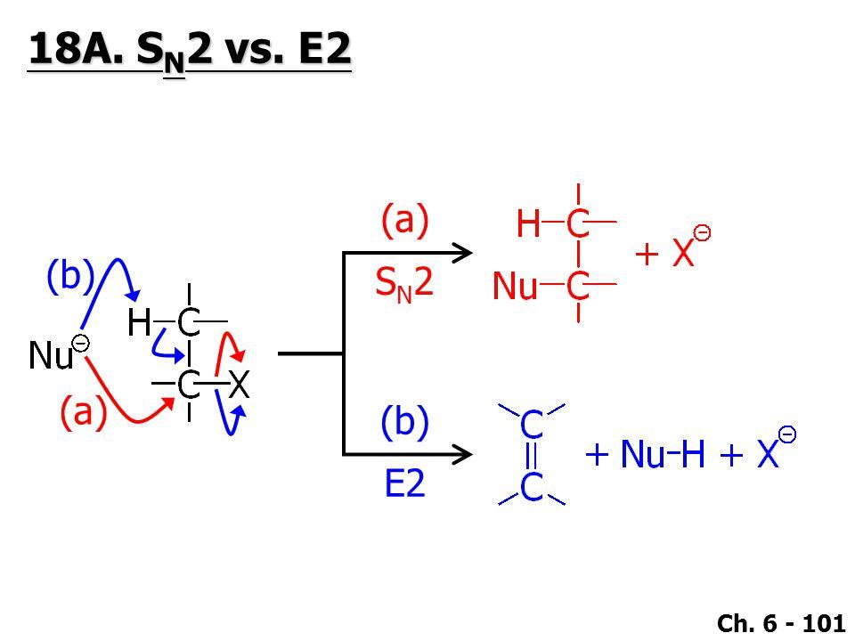 Ch. 6 - 101 E2 (b) (a) SN2SN2 (b) (a) 18A. S N 2 vs. E2