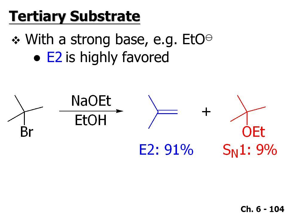Ch. 6 - 104  With a strong base, e.g. EtO ⊖ ●E2 is highly favored Tertiary Substrate