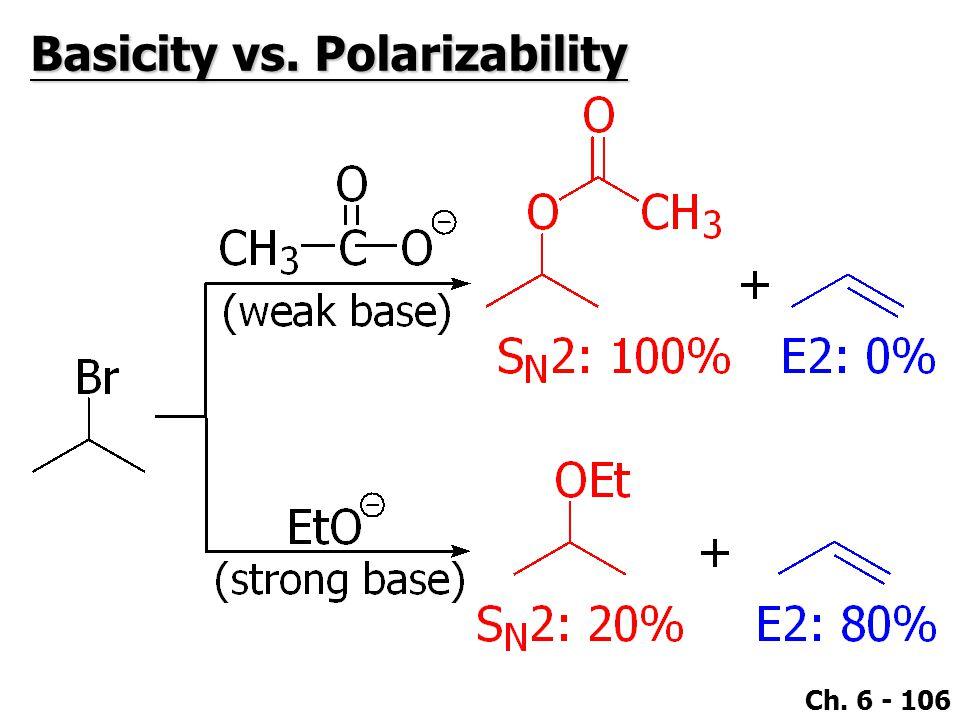Ch. 6 - 106 Basicity vs. Polarizability