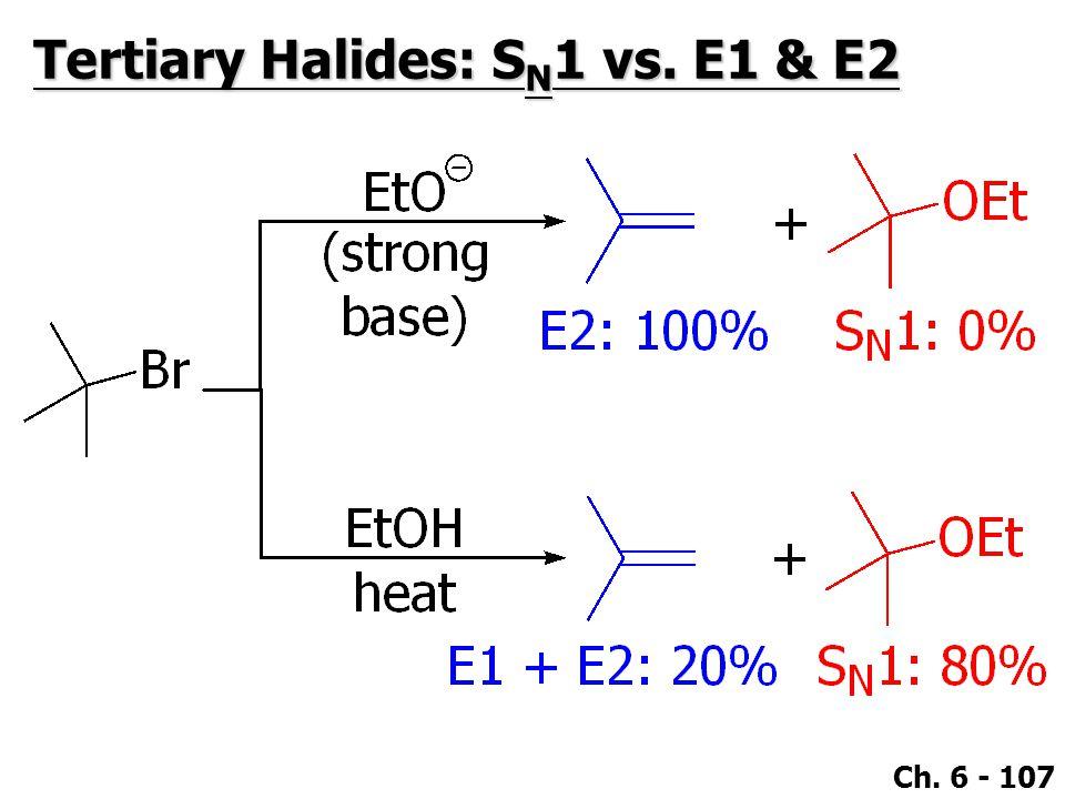 Ch. 6 - 107 Tertiary Halides: S N 1 vs. E1 & E2
