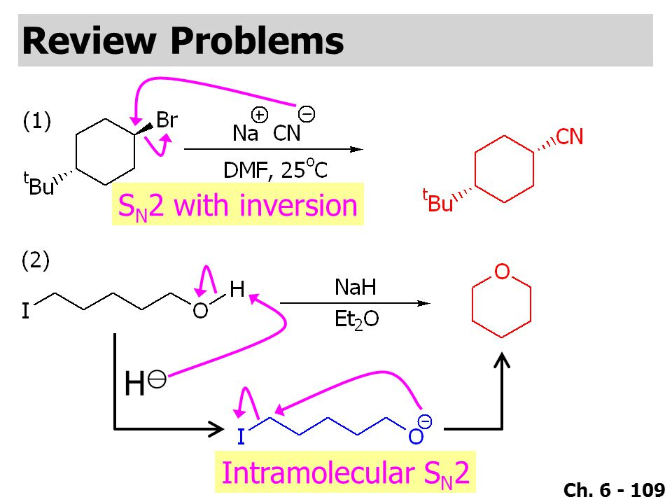 Ch. 6 - 109 Review Problems H⊖H⊖ Intramolecular S N 2 S N 2 with inversion