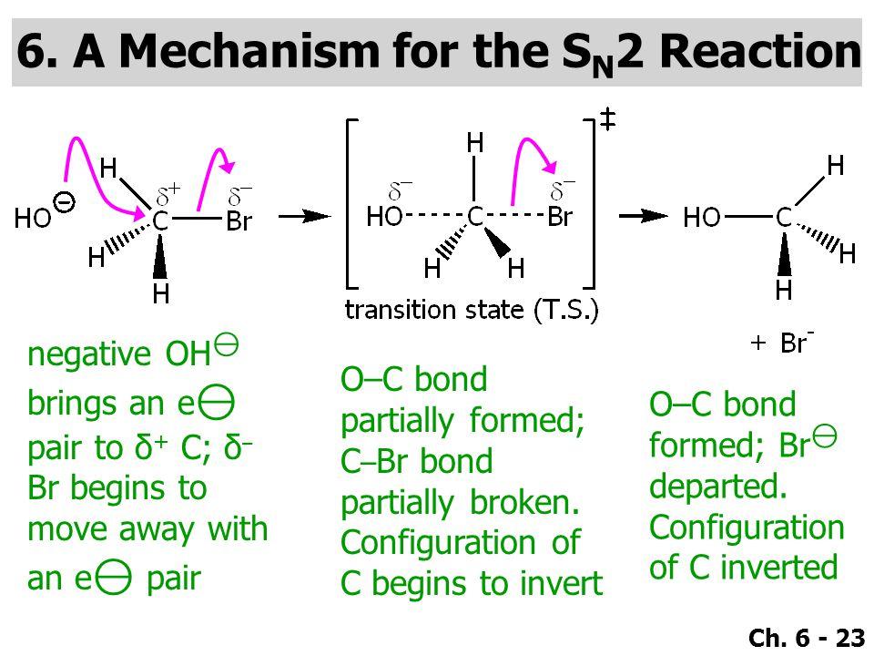 Ch. 6 - 23 negative OH ⊖ brings an e ⊖ pair to δ + C; δ – Br begins to move away with an e ⊖ pair O–C bond partially formed; C – Br bond partially bro