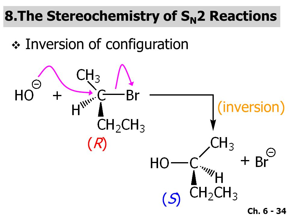 Ch. 6 - 34 (R)(R) (S)(S) (inversion) IInversion of configuration 8.The Stereochemistry of S N 2 Reactions
