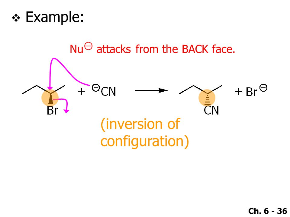 Ch. 6 - 36  Example: Nu ⊖ attacks from the BACK face. (inversion of configuration)