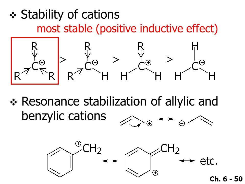 Ch. 6 - 50  Stability of cations most stable (positive inductive effect)  Resonance stabilization of allylic and benzylic cations