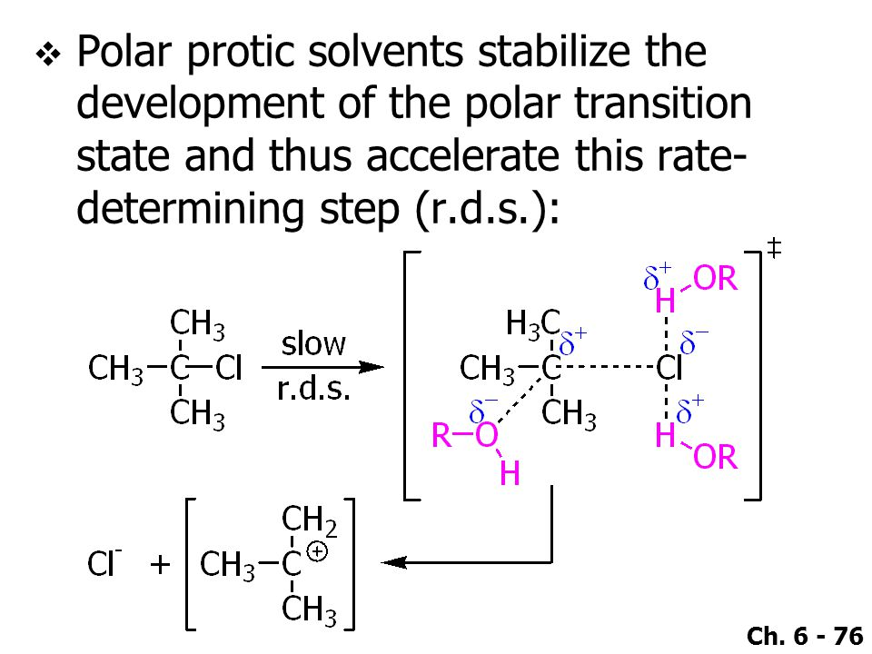 Ch. 6 - 76  Polar protic solvents stabilize the development of the polar transition state and thus accelerate this rate- determining step (r.d.s.):