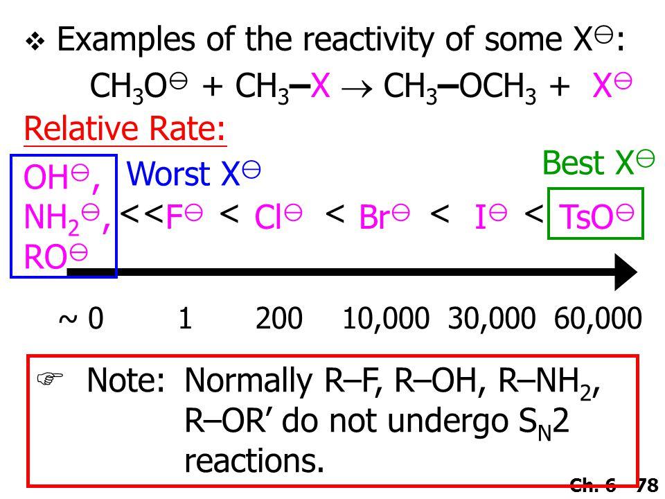 Ch. 6 - 78 CH 3 O  + CH 3 –X  CH 3 –OCH 3 + X  OH , NH 2 , RO  FF Cl  Br  II TsO  ~ 0120010,00030,00060,000 Relative Rate: <<<<<< Worst X