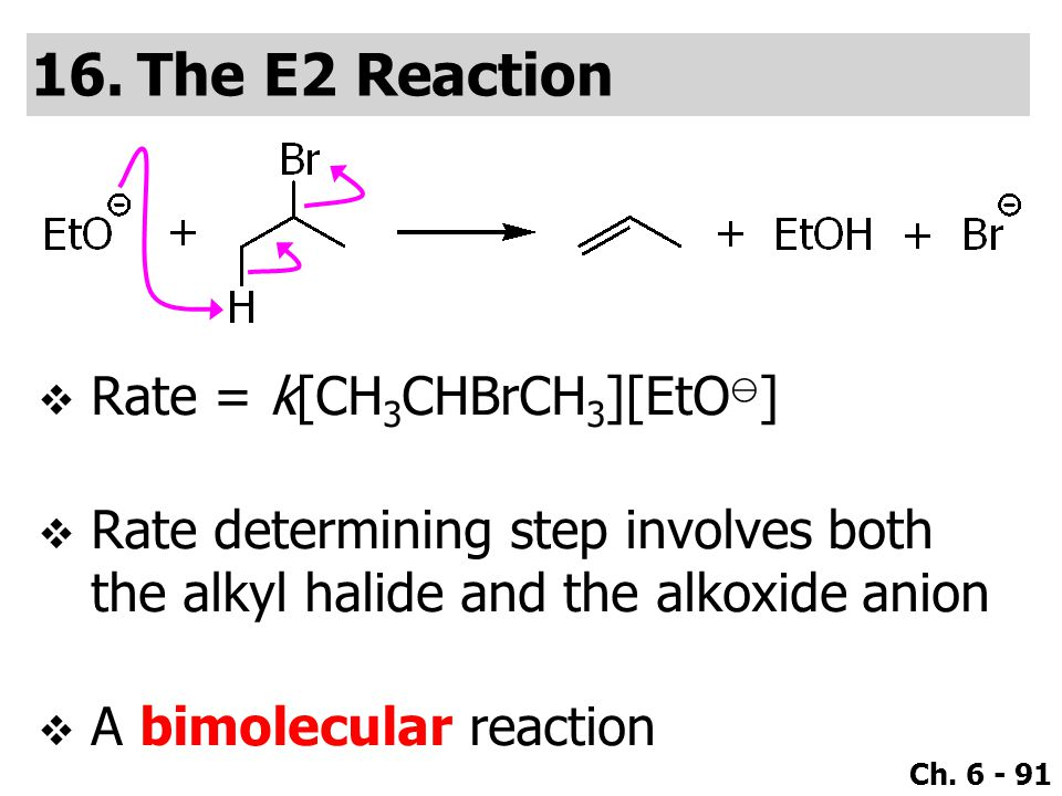 Ch. 6 - 91  Rate = k[CH 3 CHBrCH 3 ][EtO ⊖ ]  Rate determining step involves both the alkyl halide and the alkoxide anion  A bimolecular reaction 1