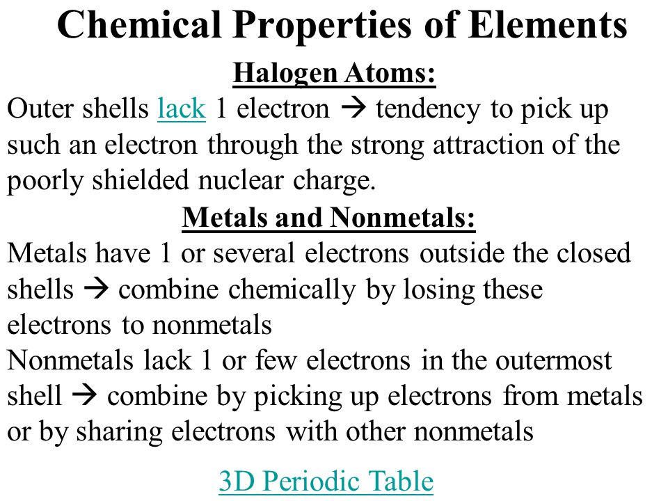 Chemical Properties of Elements Halogen Atoms: Outer shells lack 1 electron  tendency to pick up such an electron through the strong attraction of the poorly shielded nuclear charge.lack Metals and Nonmetals: Metals have 1 or several electrons outside the closed shells  combine chemically by losing these electrons to nonmetals Nonmetals lack 1 or few electrons in the outermost shell  combine by picking up electrons from metals or by sharing electrons with other nonmetals 3D Periodic Table