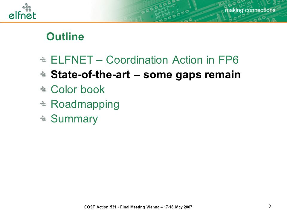 COST Action 531 - Final Meeting Vienna – 17-18 May 2007 30 Smaller;Faster;Cheaper; But …..