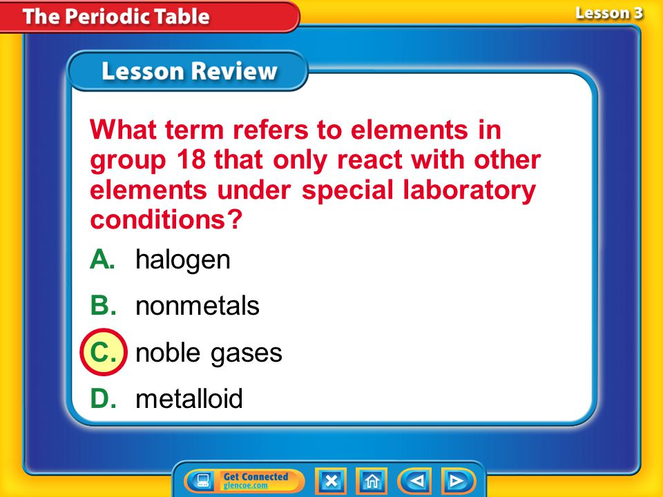 Lesson 3 - VS Metalloids have some metallic properties and some nonmetallic properties.