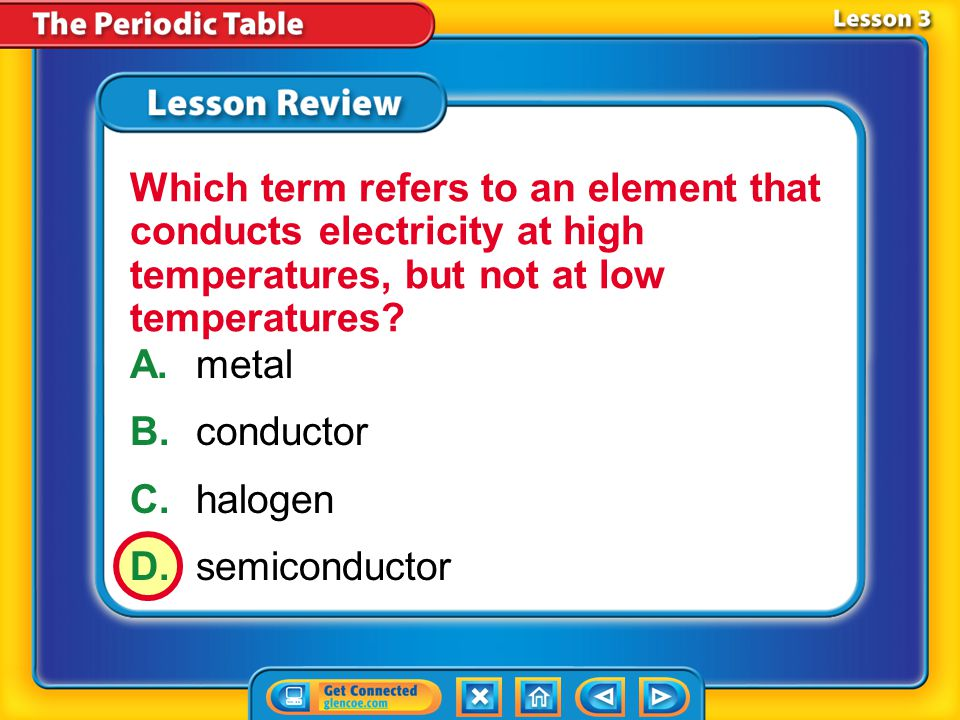 Lesson 3 – LR1 A.halogen B.nonmetals C.noble gases D.metalloid What term refers to elements in group 18 that only react with other elements under special laboratory conditions?