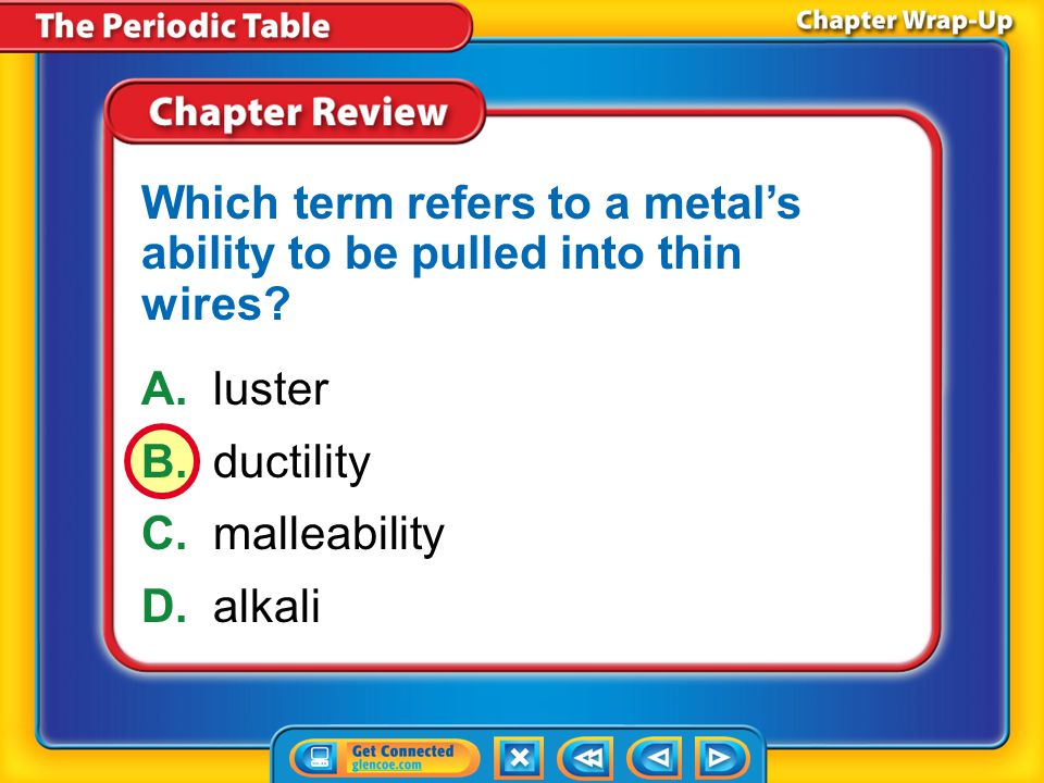 Chapter Review – MC2 A.group B.row C.period D.block What is another name for a column on the periodic table?