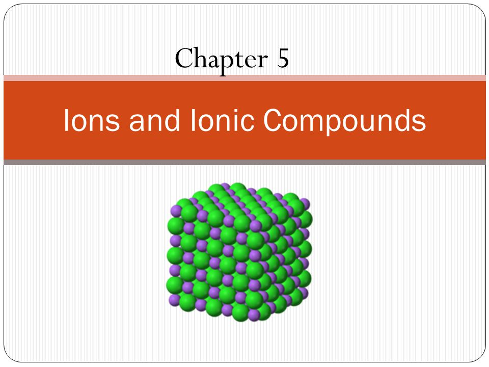 Chapter 5 Ions and Ionic Compounds