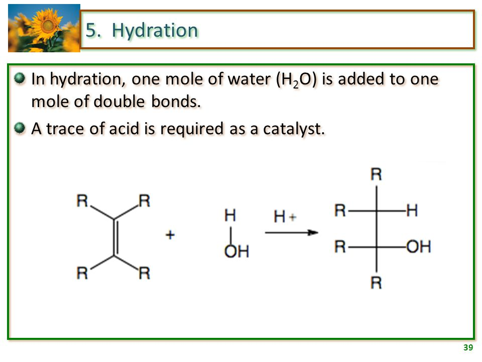 38 5. Halogenation A solution of bromine in water has a reddish-orange color. A simple test for the presence of an alkene or alkane is to add bromine