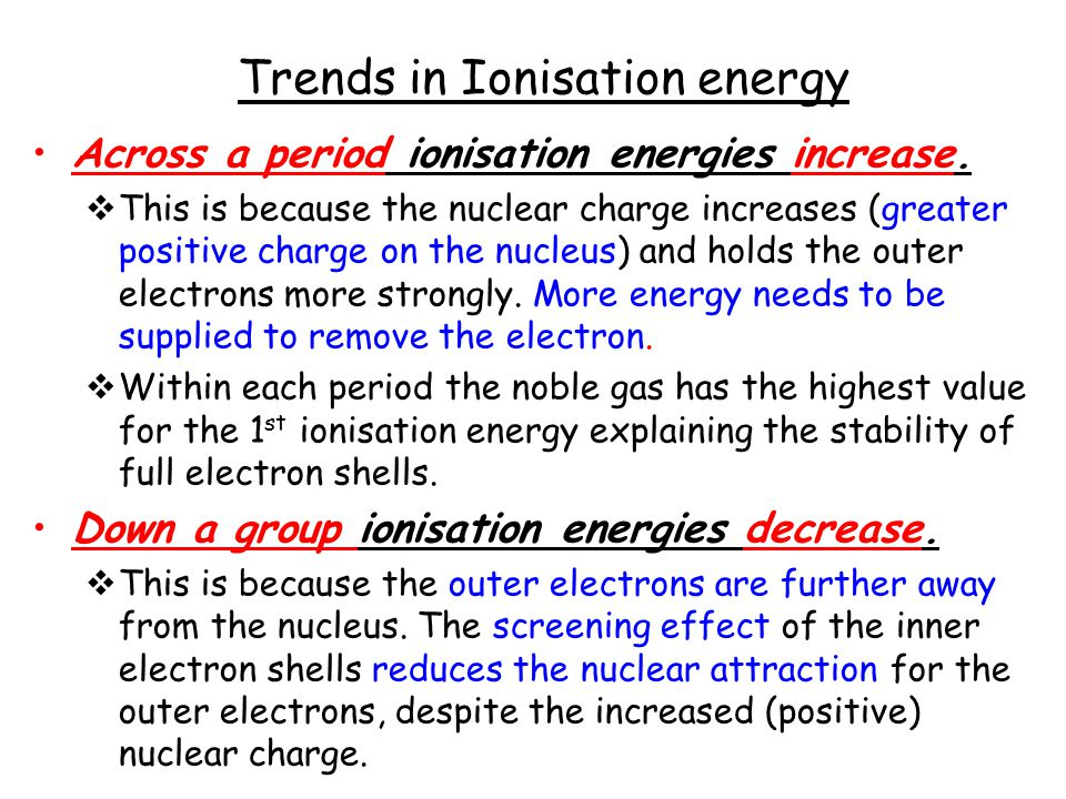 Trends in Ionisation energy Across a period ionisation energies increase.