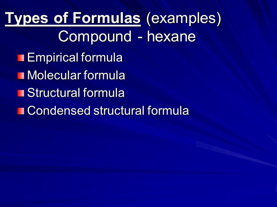Types of Formulas (examples) Compound - hexane Empirical formula Molecular formula Structural formula Condensed structural formula