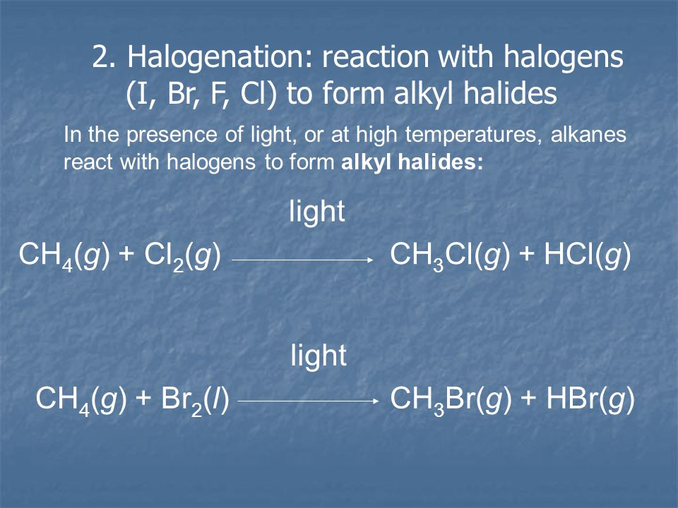 REACTANTREACTIONEXAMPLE H2H2 Hydrogenation (catalyzed by metals) CHΞCH → CH 2 =CH 2 H2OH2OHydration (catalyzed by acid) CHΞCH → CH 2 =CH-OH X2X2 HalogenationCHΞCH → Cl-CH=CH-Cl HXHydro- halogenation CHΞCH → Cl-CH=CH 2 KmnO 4, H 2 O, and OH - OxidationCHΞCH → OH-CH=CH-OH Reactions of Alkynes