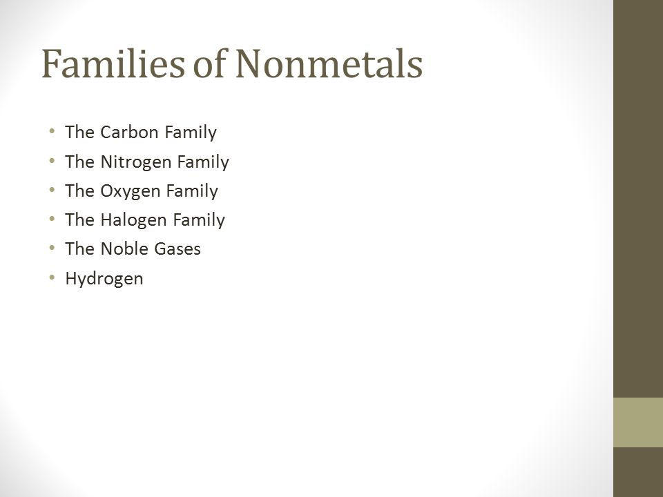Families of Nonmetals The Carbon Family The Nitrogen Family The Oxygen Family The Halogen Family The Noble Gases Hydrogen