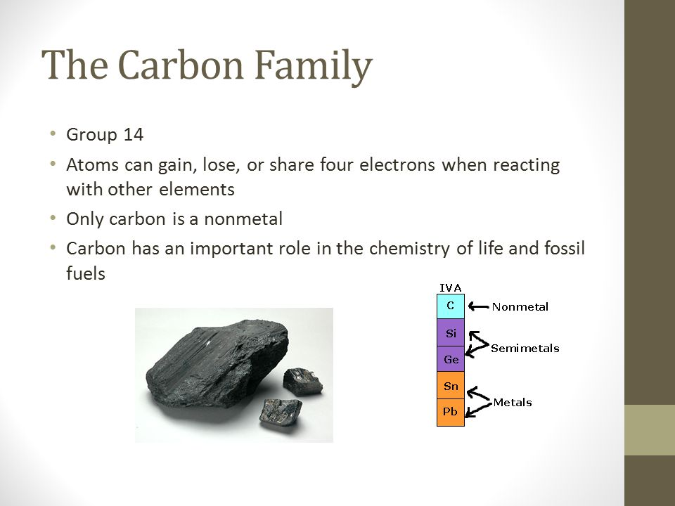 The Carbon Family Group 14 Atoms can gain, lose, or share four electrons when reacting with other elements Only carbon is a nonmetal Carbon has an imp