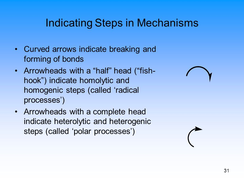"31 Indicating Steps in Mechanisms Curved arrows indicate breaking and forming of bonds Arrowheads with a ""half"" head (""fish- hook"") indicate homolytic"