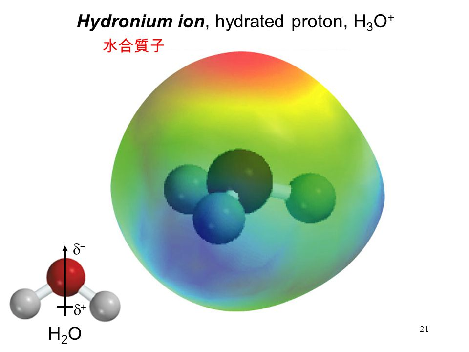 21 Hydronium ion, hydrated proton, H 3 O + 水合質子   H2OH2O