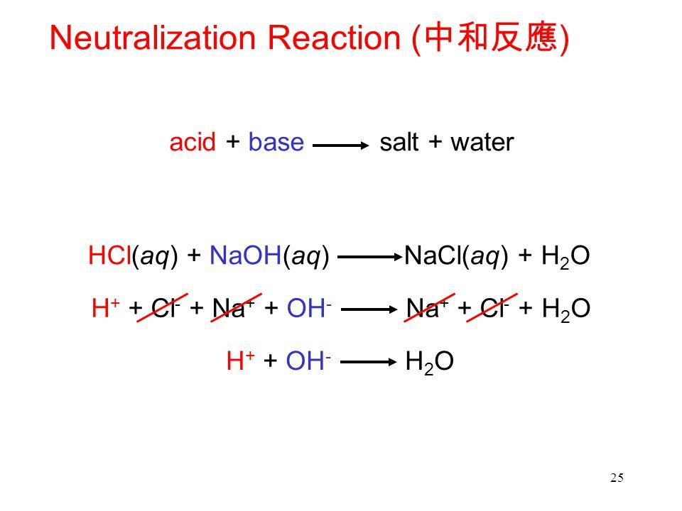 25 Neutralization Reaction ( 中和反應 ) acid + base salt + water HCl(aq) + NaOH(aq) NaCl(aq) + H 2 O H + + Cl - + Na + + OH - Na + + Cl - + H 2 O H + + OH - H 2 O