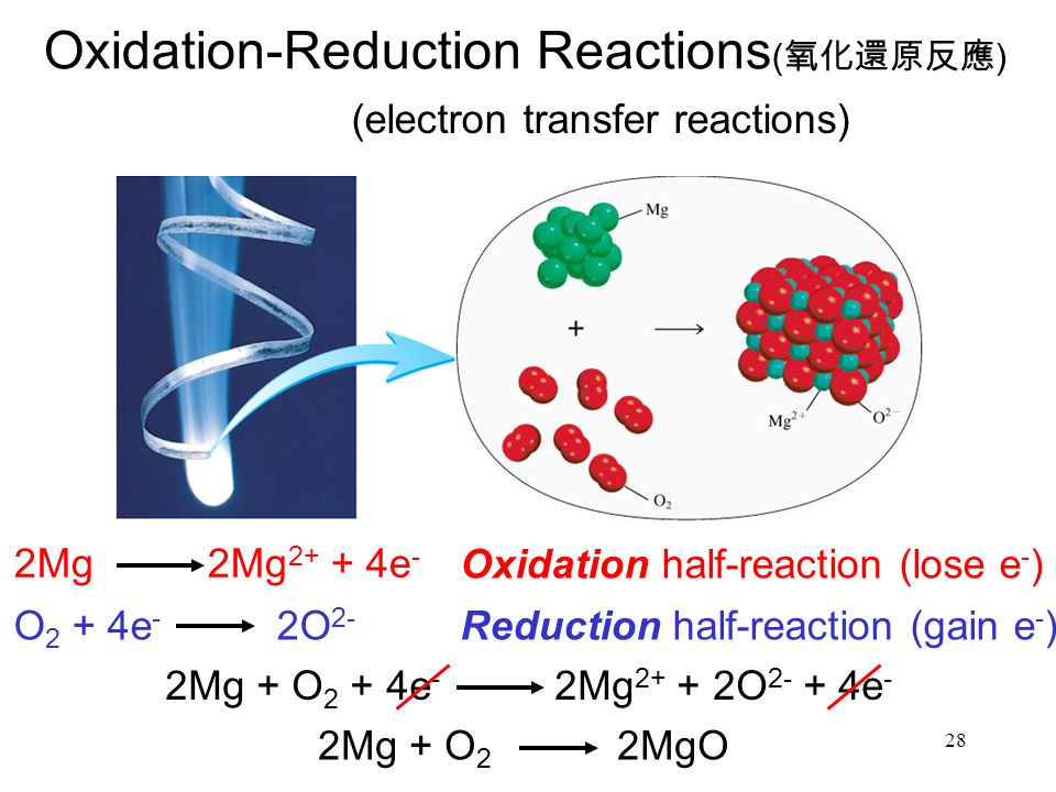 28 Oxidation-Reduction Reactions ( 氧化還原反應 ) (electron transfer reactions) 2Mg 2Mg 2+ + 4e - O 2 + 4e - 2O 2- Oxidation half-reaction (lose e - ) Reduction half-reaction (gain e - ) 2Mg + O 2 + 4e - 2Mg 2+ + 2O 2- + 4e - 2Mg + O 2 2MgO
