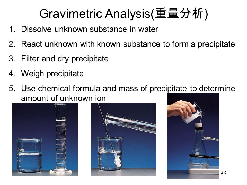 46 Gravimetric Analysis( 重量分析 ) 1.Dissolve unknown substance in water 2.React unknown with known substance to form a precipitate 3.Filter and dry precipitate 4.Weigh precipitate 5.Use chemical formula and mass of precipitate to determine amount of unknown ion