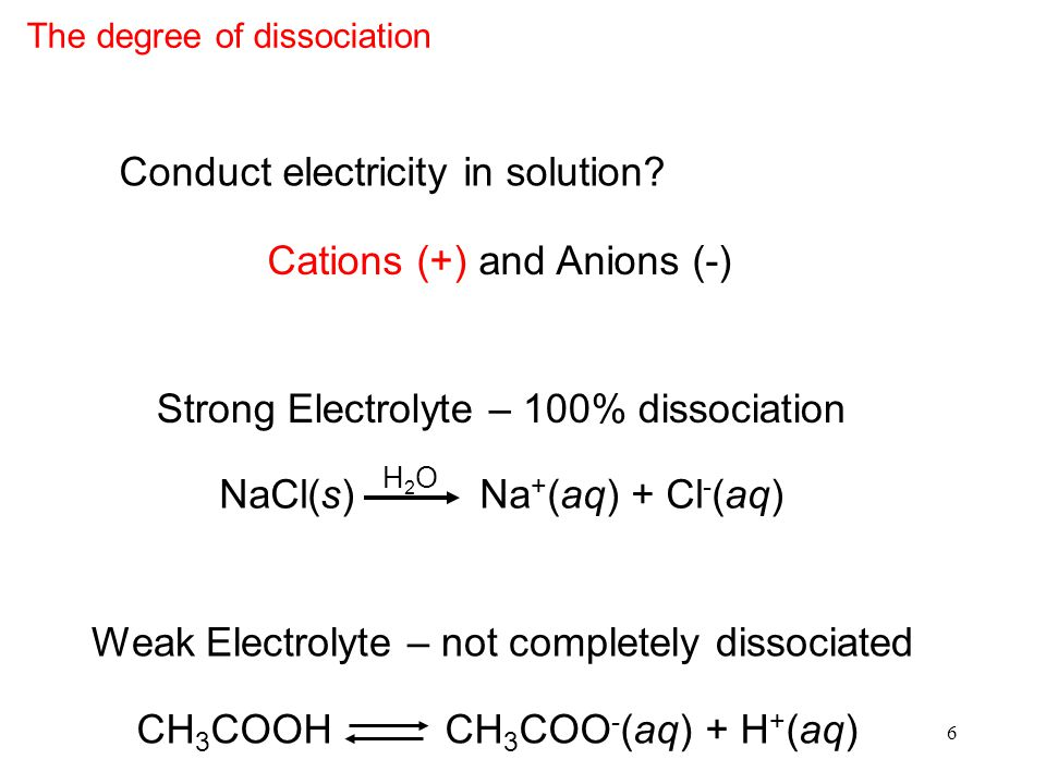 6 Strong Electrolyte – 100% dissociation NaCl(s) Na + (aq) + Cl - (aq) H2OH2O Weak Electrolyte – not completely dissociated CH 3 COOH CH 3 COO - (aq) + H + (aq) Conduct electricity in solution.