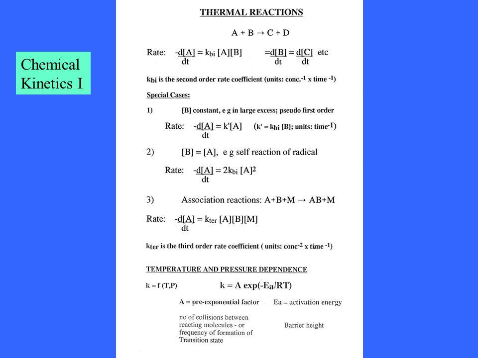 Chemical Kinetics I