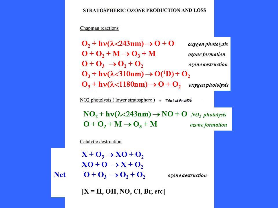 O 2 + h  nm  O + O oxygen photolysis O + O 2 + M  O 3 + M  ozone formation O + O 3  O 2 + O 2 ozone destruction O 3 + h  nm  O( 1 D) + O 2 O 3 + h  nm  O + O 2 oxygen photolysis NO 2 + h  nm  NO + O NO 2 photolysis O + O 2 + M  O 3 + M  ozone formation X + O 3  XO + O 2 XO + O  X + O 2 Net O + O 3  O 2 + O 2 ozone destruction [X = H, OH, NO, Cl, Br, etc]