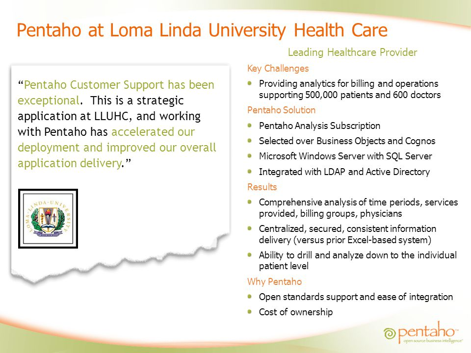 Pentaho at Loma Linda University Health Care Leading Healthcare Provider Key Challenges Providing analytics for billing and operations supporting 500,