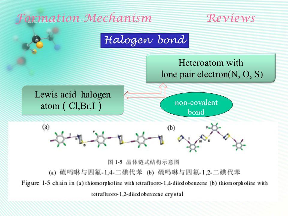 Formation MechanismReviews Heteroatom with lone pair electron(N, O, S) Halogen bond Lewis acid halogen atom ( Cl,Br,I ) Lewis acid halogen atom ( Cl,B