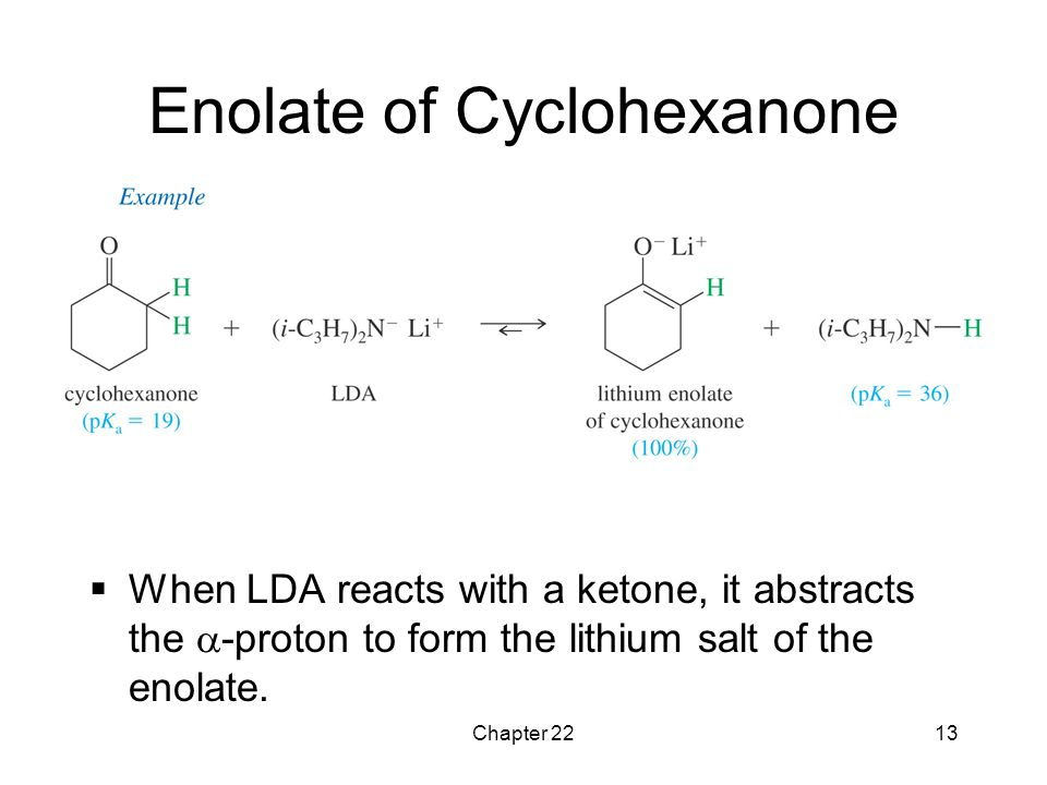 Chapter 2213 Enolate of Cyclohexanone  When LDA reacts with a ketone, it abstracts the  -proton to form the lithium salt of the enolate.