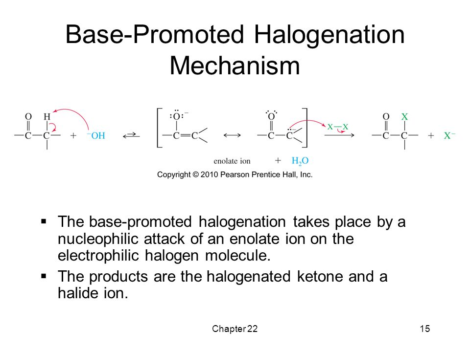 Chapter 2215 Base-Promoted Halogenation Mechanism  The base-promoted halogenation takes place by a nucleophilic attack of an enolate ion on the elect