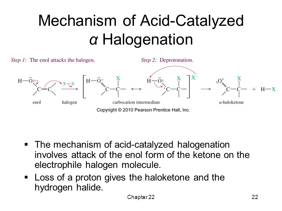 Chapter 2222 Mechanism of Acid-Catalyzed α Halogenation  The mechanism of acid-catalyzed halogenation involves attack of the enol form of the ketone