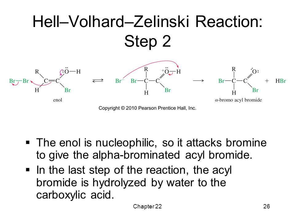Chapter 2226 Hell–Volhard–Zelinski Reaction: Step 2  The enol is nucleophilic, so it attacks bromine to give the alpha-brominated acyl bromide.  In