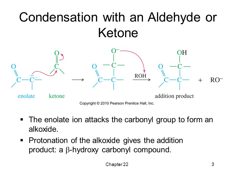 Chapter 223 Condensation with an Aldehyde or Ketone  The enolate ion attacks the carbonyl group to form an alkoxide.  Protonation of the alkoxide gi