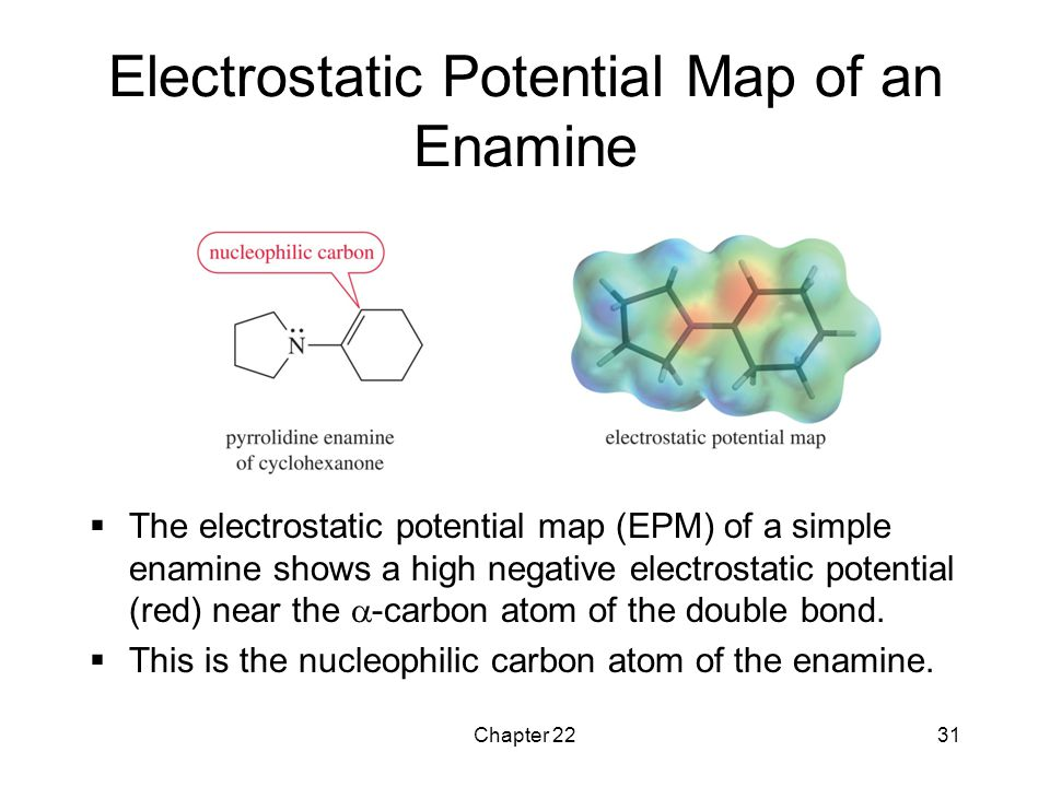 Chapter 2231 Electrostatic Potential Map of an Enamine  The electrostatic potential map (EPM) of a simple enamine shows a high negative electrostatic