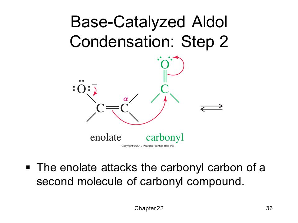 Chapter 2236 Base-Catalyzed Aldol Condensation: Step 2  The enolate attacks the carbonyl carbon of a second molecule of carbonyl compound.