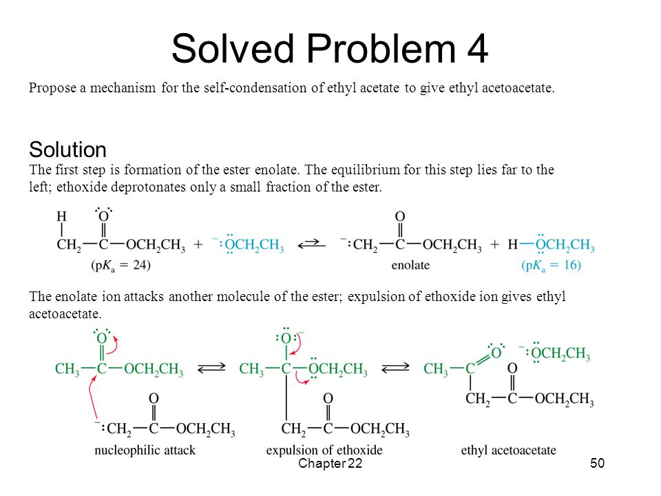 Chapter 2250 Propose a mechanism for the self-condensation of ethyl acetate to give ethyl acetoacetate. The first step is formation of the ester enola