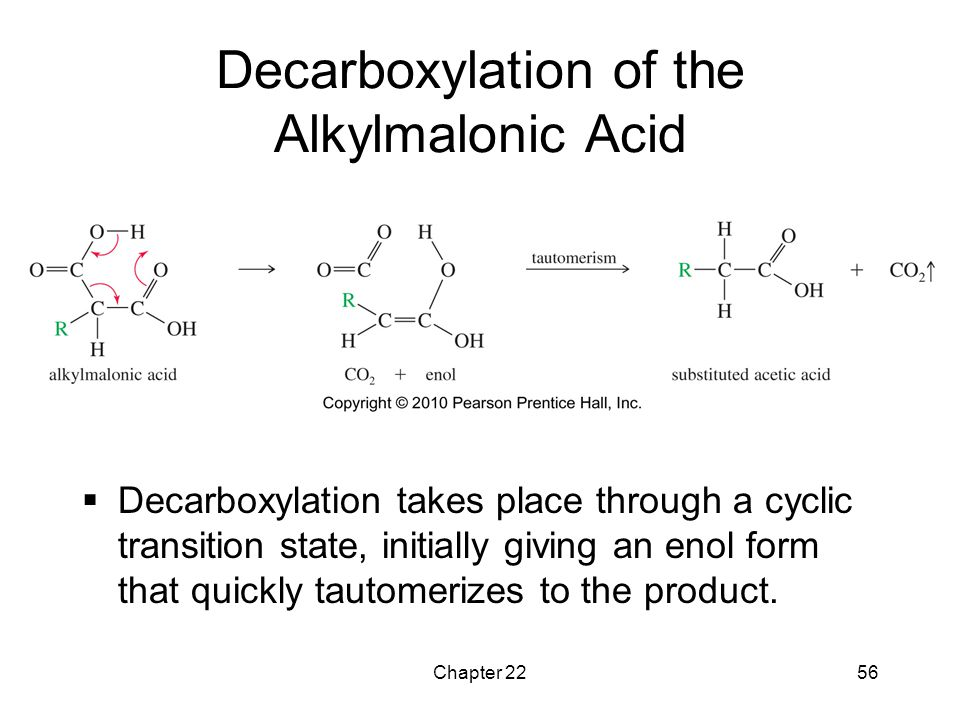 Chapter 2256 Decarboxylation of the Alkylmalonic Acid  Decarboxylation takes place through a cyclic transition state, initially giving an enol form t