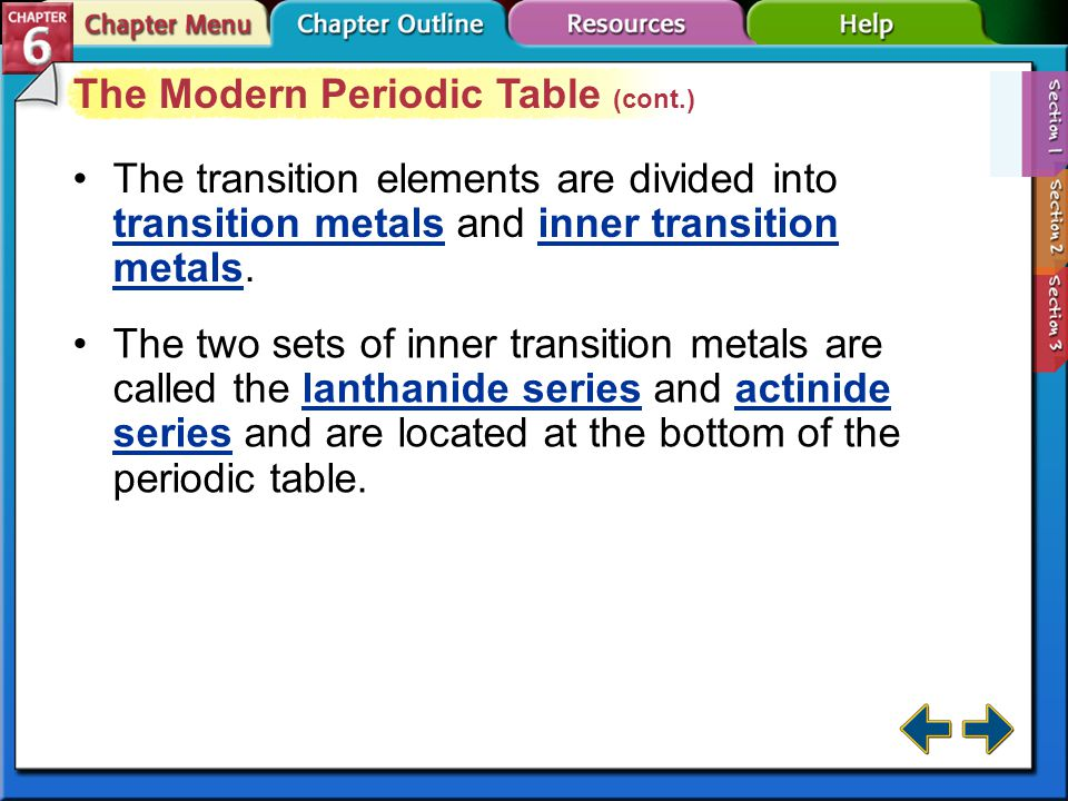 Section 6-1 The Modern Periodic Table (cont.) Elements are classified as metals, non-metals, and metalloids. Metals are elements that are generally sh