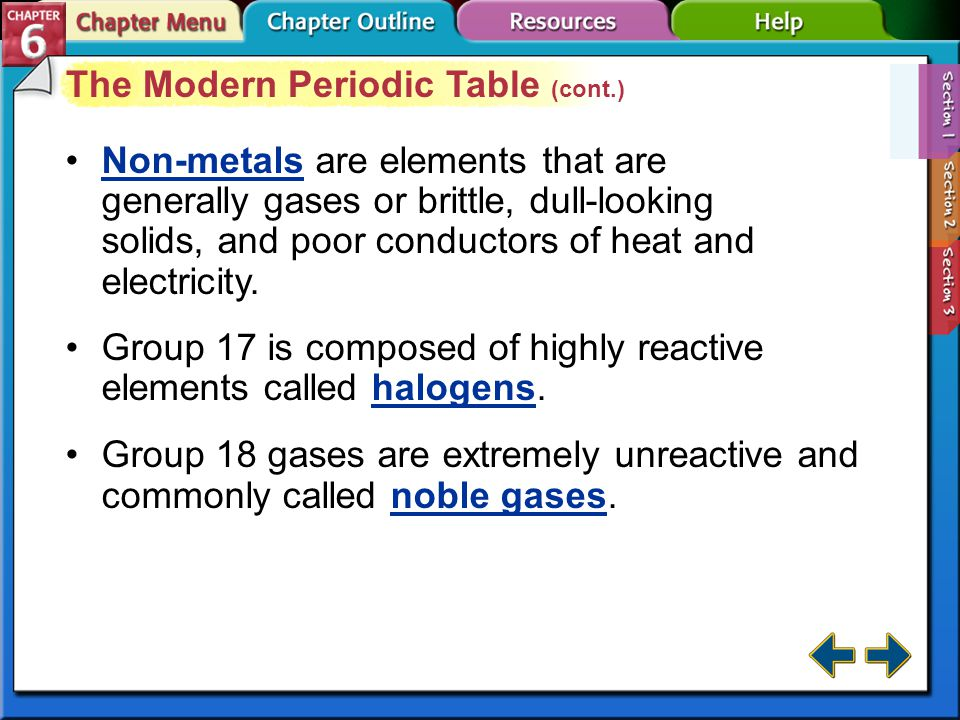 Section 6-1 The Modern Periodic Table (cont.) The transition elements are divided into transition metals and inner transition metals. transition metal