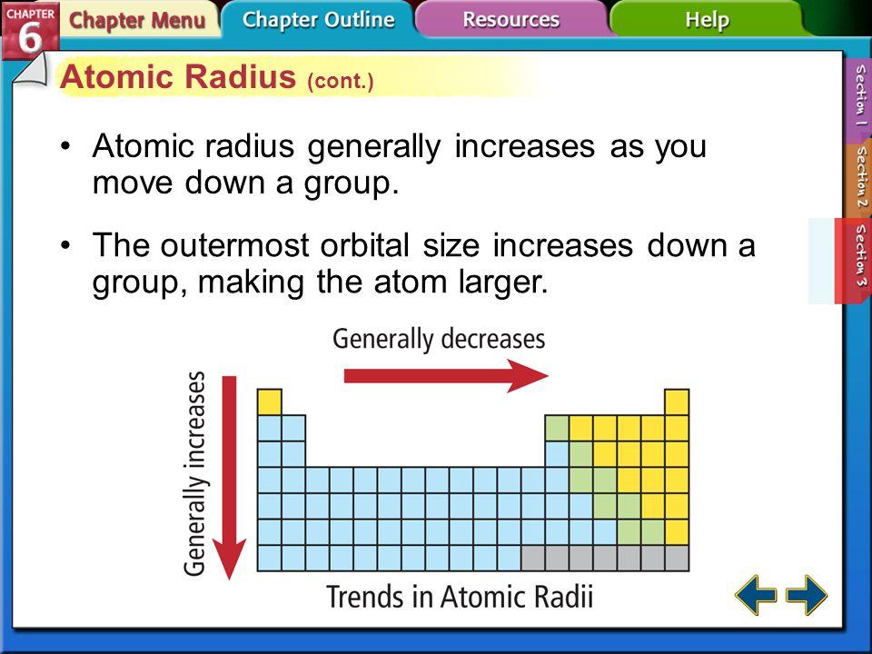 Section 6-3 Atomic Radius (cont.)