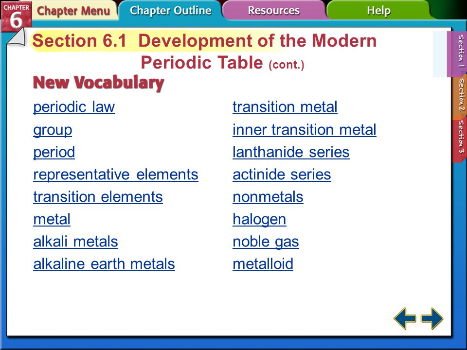 Section 6-1 Section 6.1 Development of the Modern Periodic Table Trace the development of the periodic table. atomic number: the number of protons in