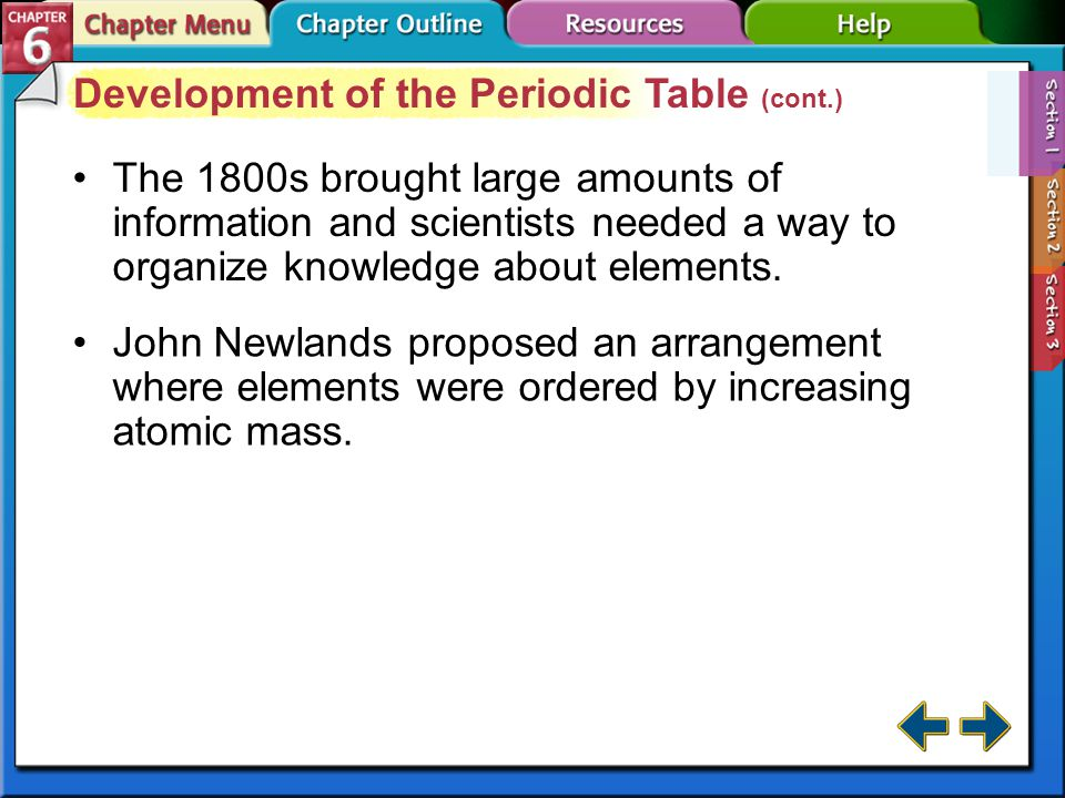 Section 6-1 Development of the Periodic Table In the 1700s, Lavoisier compiled a list of all the known elements of the time.