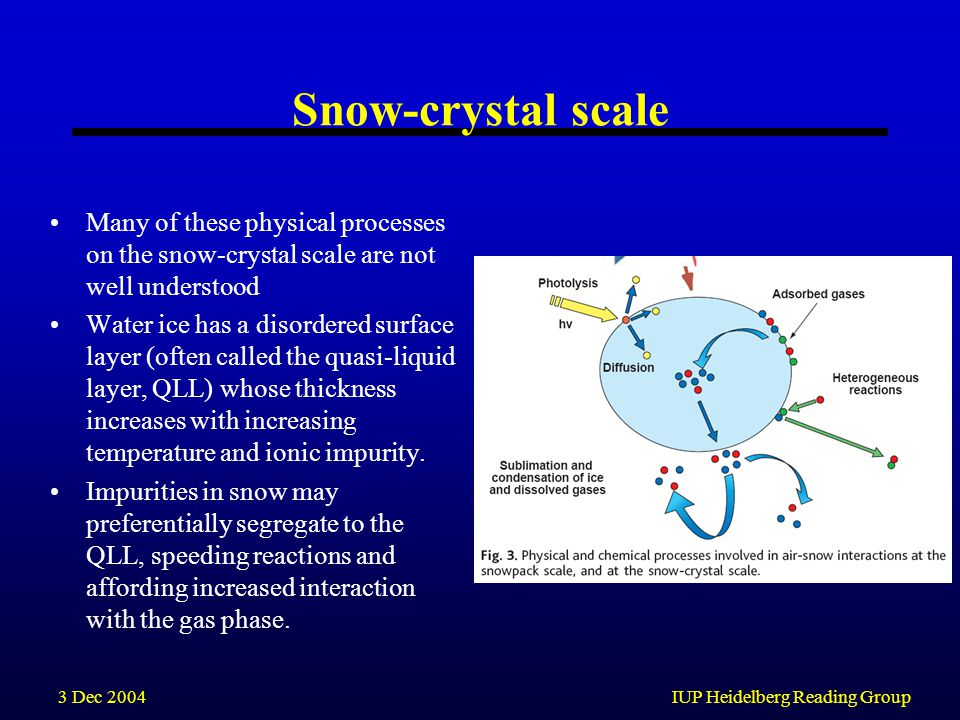 3 Dec 2004IUP Heidelberg Reading Group Snow-crystal scale Many of these physical processes on the snow-crystal scale are not well understood Water ice has a disordered surface layer (often called the quasi-liquid layer, QLL) whose thickness increases with increasing temperature and ionic impurity.